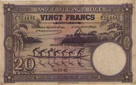 Belgisch-Kongo / Belgian Congo P.15A 20 Francs 10.03.1942 Specimen (3-)