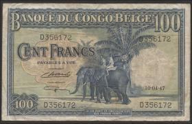 Belgisch-Kongo / Belgian Congo P.17c 100 Francs 1946 (3/4)