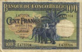Belgisch-Kongo / Belgian Congo P.17c 100 Francs 10.4.1947 (3)