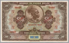 Belgisch-Kongo / Belgian Congo P.18Abs 500 Francs 1943 00000 Specimen (1)