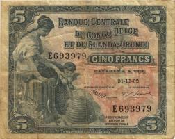 Belgisch-Kongo / Belgian Congo P.21 5 Francs 01.11.1952 (3)