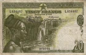Belgisch-Kongo / Belgian Congo P.26 20 Francs 1953 (3-)