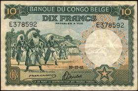 Belgisch-Kongo / Belgian Congo P.14 10 Francs 1941 (3)