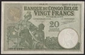 Belgisch-Kongo / Belgian Congo P.10f 20 Francs 1937 (3/2)