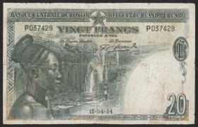 Belgisch-Kongo / Belgian Congo P.26 20 Francs 1954 (4)