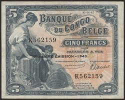 Belgisch-Kongo / Belgian Congo P.13Aa 5 Francs 1942 (3/2)
