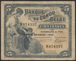 Belgisch-Kongo / Belgian Congo P.13Ab 5 Francs 1943 (4)