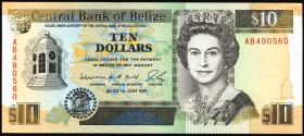 Belize P.54b 10 Dollars 1991 (1)
