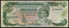 Belize P.46c 1 Dollar 1987 (3-)