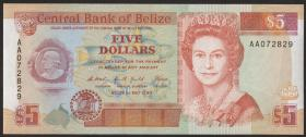 Belize P.53a 5 Dollars 1990 (1)