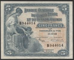 Belgisch-Kongo / Belgian Congo P.21 5 Francs 1.10.1952 (3+)