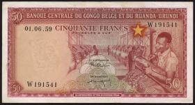 Belgisch-Kongo / Belgian Congo P.32 50 Francs 1959 (2+)