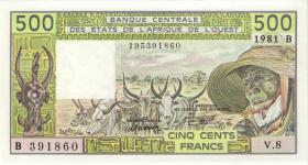 West-Afr.Staaten/West African States P.206Bc 500 Francs 1981 (1)