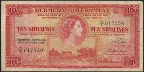 Bermuda P.19a 10 Shillings 1952 (3-)