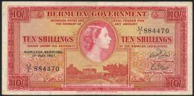 Bermuda P.19b 10 Shillings 1957 (3)