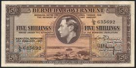 Bermuda P.14 5 Shillings 1947 (3+)