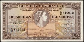 Bermuda P.18b 5 Shillings 1957 (1/1-)