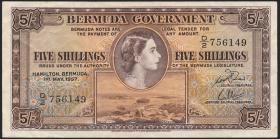 Bermuda P.18b 5 Shillings 1957 (3+)