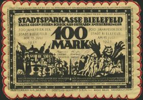 Notgeld Bielefeld GP.34 100 Mark 1921 Seide (1)