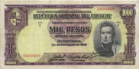Uruguay P.41c 1000 Pesos (1967) (3-)