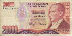 Türkei / Turkey P.201b 20000 Lira 1970 (1988) (3)
