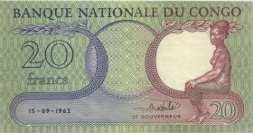 Kongo / Congo P.004a 20 Francs 1962 (3+)