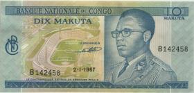 Kongo / Congo P.009a 10 Makuta 2.1.1967 (2+)
