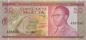 Kongo / Congo P.011a 50 Makuta 2.1.1967 (2+)