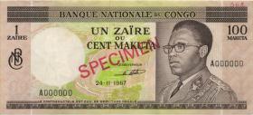 Kongo / Congo P.012s1 1 Zaire = 100 Makuta 1967 Specimen (2/1)