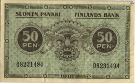 Finnland / Finland P.034 50 Penniä 1918 (3)