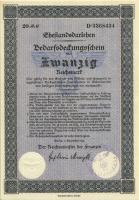 Ehestandsdarlehen 20 Reichsmark 1933 (1-) mit Stempel