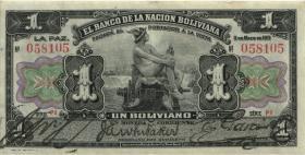 Bolivien / Bolivia P.102b 1 Boliviano 1911 (2)