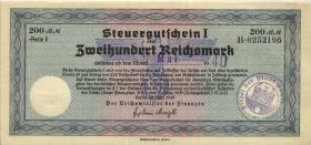 """R.717f: Steuergutschein 200 Reichsmark 1939 (2) mit zivilem Stempel """"Böhm"""""""