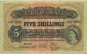 Ost Afrika / East Africa P.33 5 Shillings 1.10.1957 (3)
