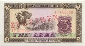 Albanien / Albania P.41s1 3 Leke 1976 JT 000000 Specimen (1)