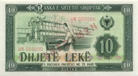 Albanien / Albania P.43s1 10 Leke 1976 UR 000000 Specimen (1)