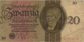 R.169: 20 Reichsmark 1924  W/D (3-)