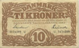 Dänemark / Denmark P.31o 10 Kroner 1943 U (3)