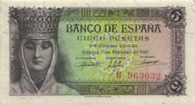 Spanien / Spain P.127 5 Pesetas 1943 (1/1-)