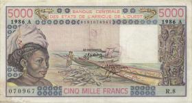 West-Afr.Staaten/West African States P.108Ao 5.000 Francs 1986 (3)