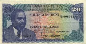Kenia / Kenya P.13b 20 Shillings 1975 (3-)