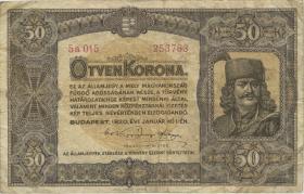 Ungarn / Hungary P.062 50 Kronen 1920 (3-)