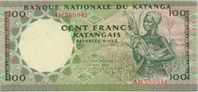 Katanga P.12a 100 Francs 18.5.1962 (3+)
