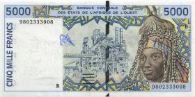 West-Afr.Staaten/West African States P.213Bg 5000 Francs 1998 (1)