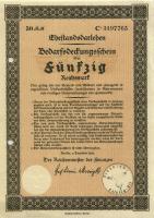 Ehestandsdarlehen 50 Reichsmark 1933 (1) mit Stempel, Registerlochung