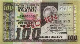 Madagaskar P.63s 100 Francs = 20 Ariary (1974-75) Specimen (1)