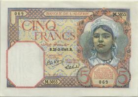 Algerien / Algeria P.077b 5 Francs 1941 (1/1-)