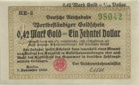 RVM-26a Reichsbahn Berlin 0,42 Mark Gold = 1/10 Dollar HE 7.11.1923 (1)