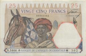 Franz. Westafrika / French West Africa P.27 25 Francs 1942 (1-)