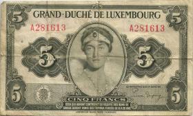 Luxemburg / Luxembourg P.43b 5 Francs (1944) (3)
